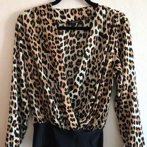 Leopard print body suit shirt size SM